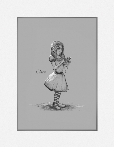 Sketch of Clary holding a mouse