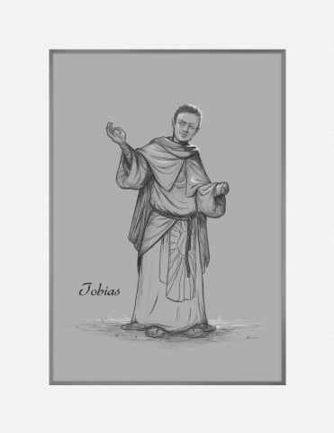 Sketch of Tobias in priestly robes